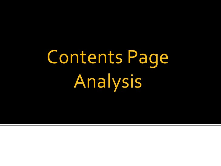 Contents Page Analysis<br />