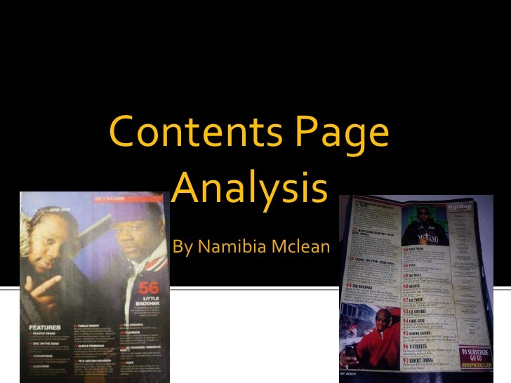 Contents Page Analysis<br />By Namibia Mclean<br />