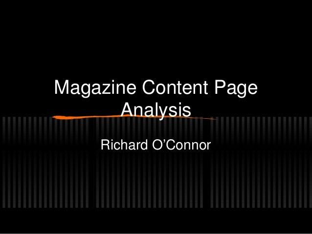 Magazine Content PageAnalysisRichard O'Connor