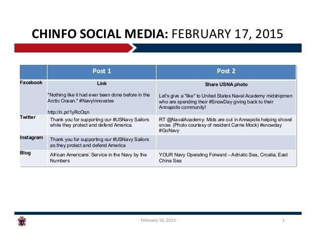 CHINFO  SOCIAL  MEDIA:  FEBRUARY  17,  2015   February  16,  2015   1   Post  1   Post  2   Fa...