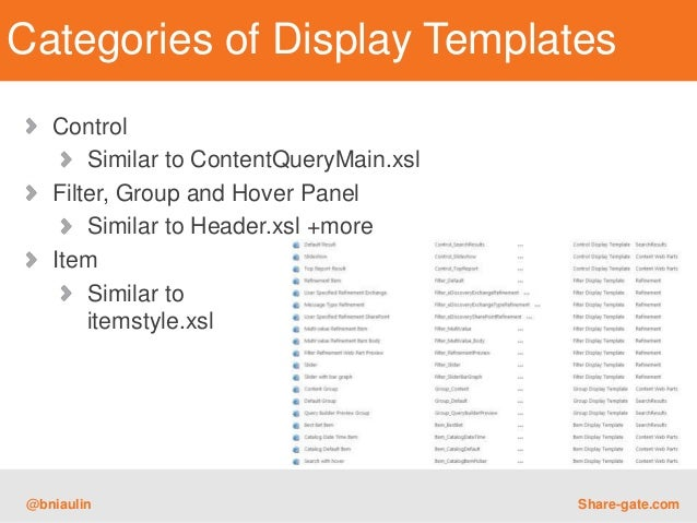 Categories of display templates control for Create display template sharepoint 2013