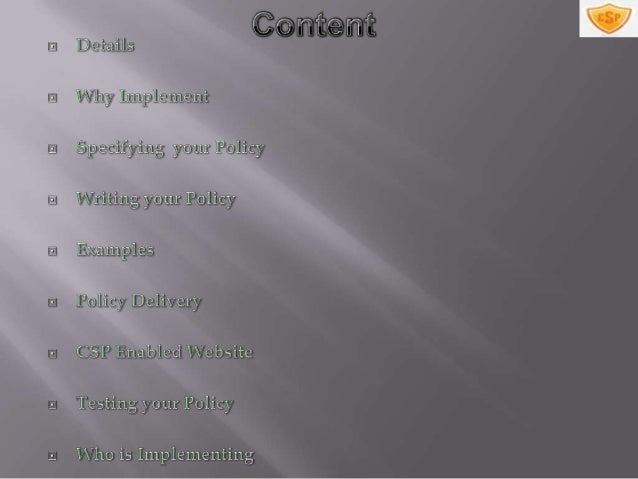 Content security policy Slide 2