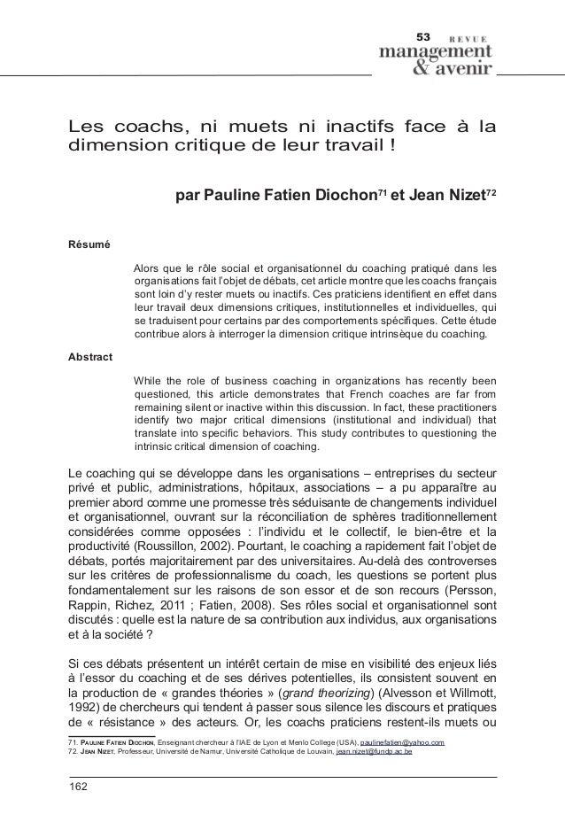 53 162 Les coachs, ni muets ni inactifs face à la dimension critique de leur travail! par Pauline Fatien Diochon71 et Jea...