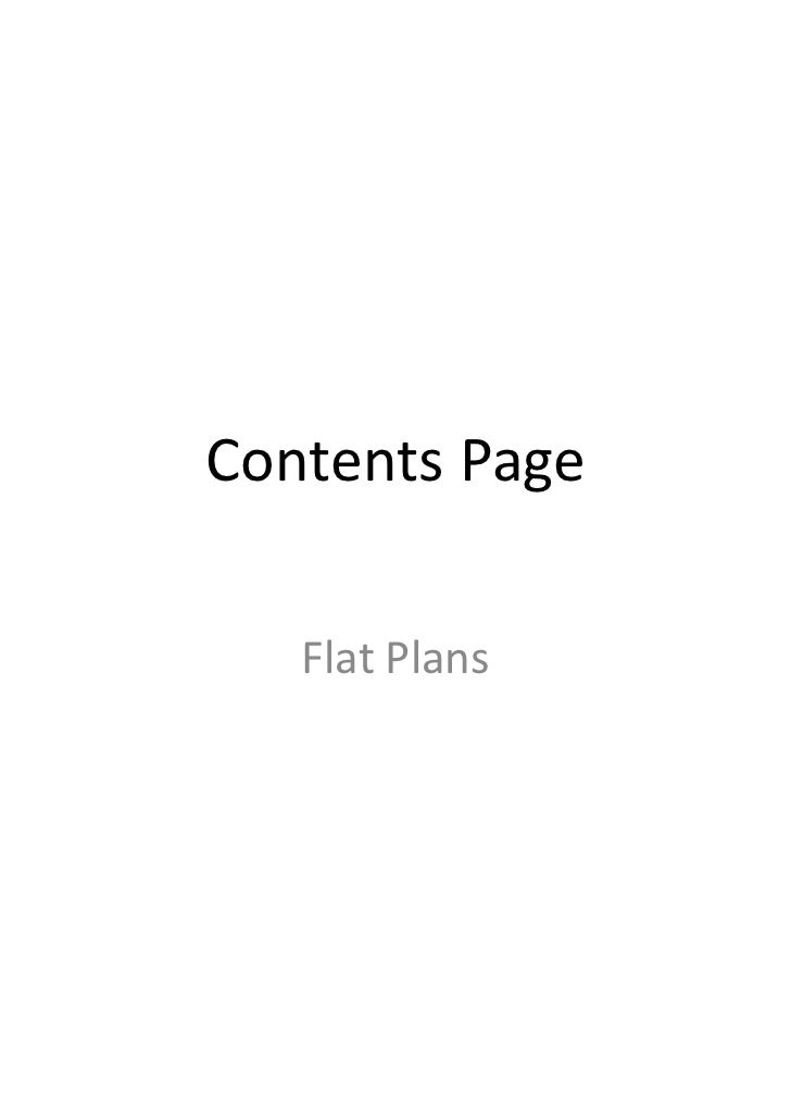 Contents Page   Flat Plans