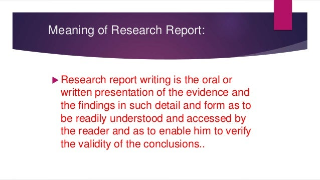 research report writing definition
