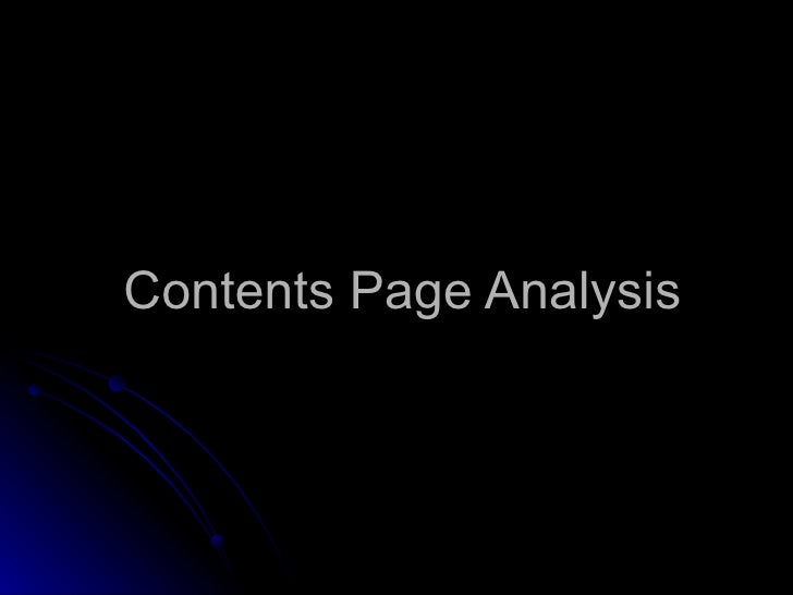 Contents Page Analysis