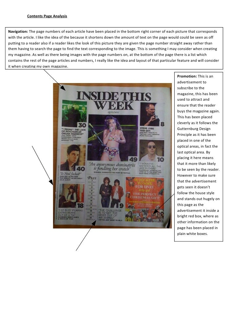 Contents Page AnalysisNavigation: The page numbers of each article have been placed in the bottom right corner of each pic...