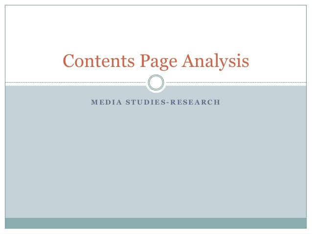 Contents Page Analysis MEDIA STUDIES-RESEARCH