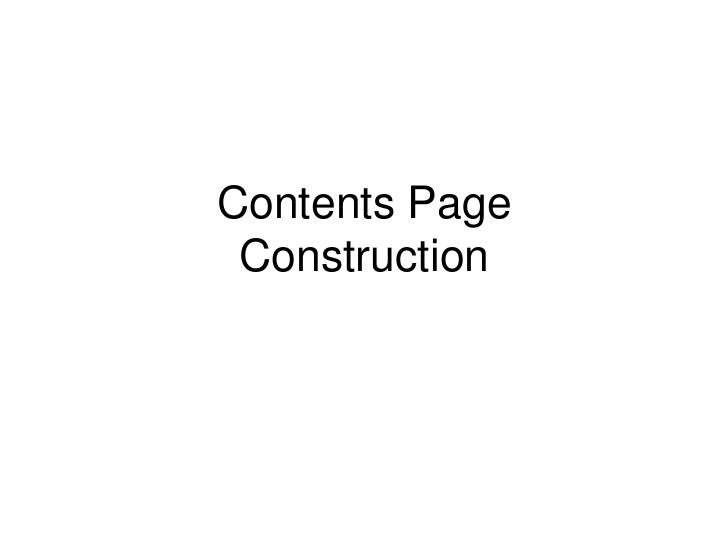 Contents Page Construction