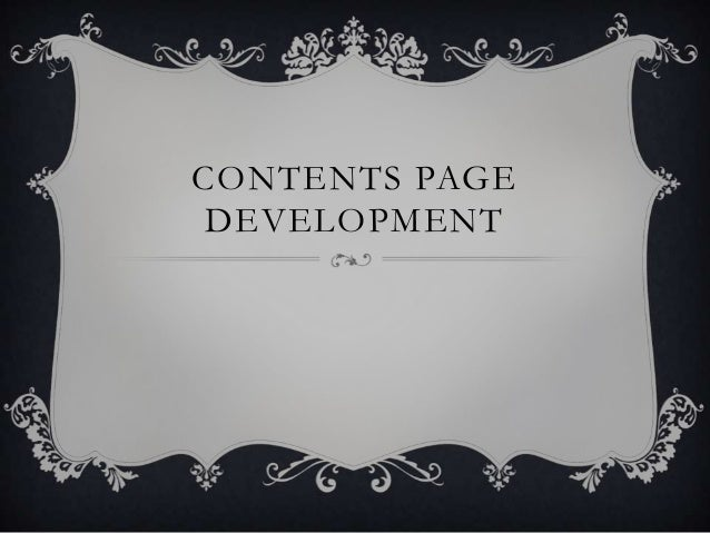 CONTENTS PAGE DEVELOPMENT