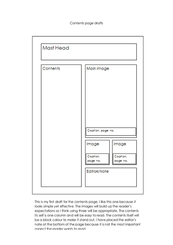 Contents page drafts <br />5048252603500<br />5143504837430This is my first draft for the contents page. I like this one b...
