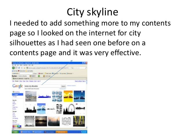 City skyline I needed to add something more to my contents page so I looked on the internet for city silhouettes as I had ...
