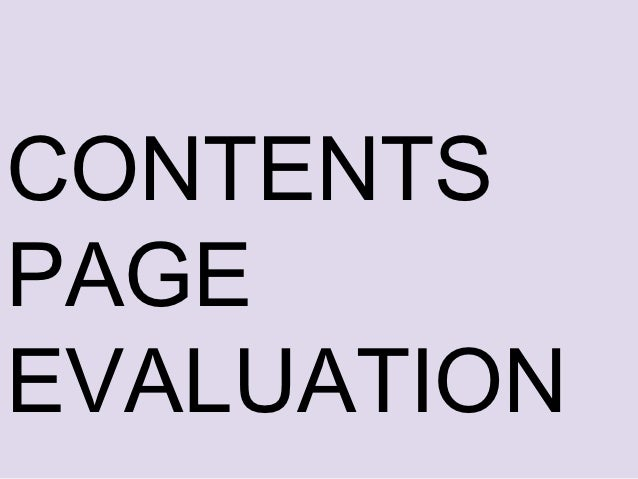 CONTENTSPAGEEVALUATION