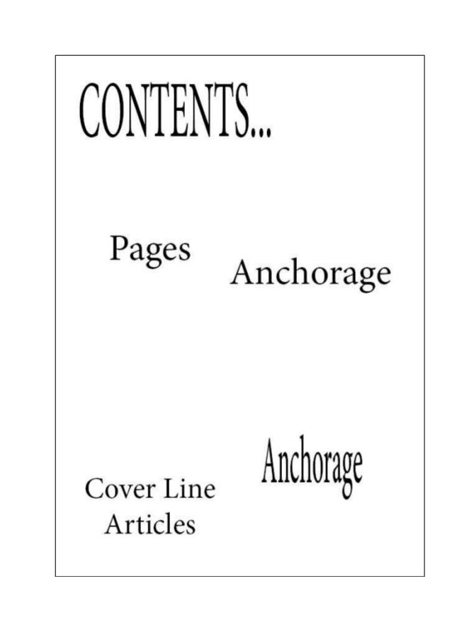 Contents page mock ups