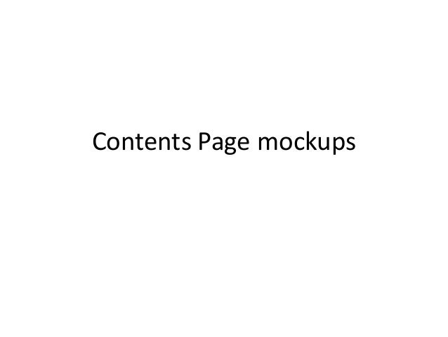 Contents Page mockups