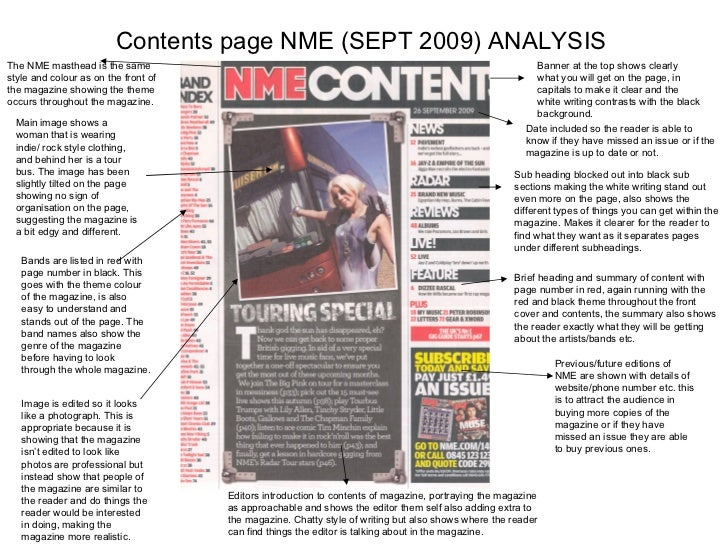 Contents page NME (SEPT 2009) ANALYSIS Banner at the top shows clearly what you will get on the page, in capitals to make ...