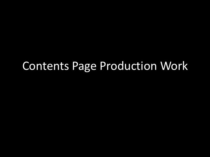 Contents Page Production Work