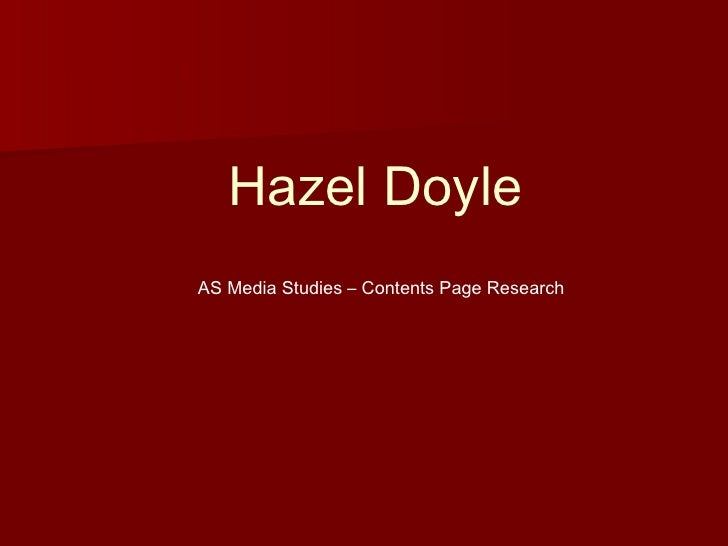 Hazel Doyle AS Media Studies – Contents Page Research