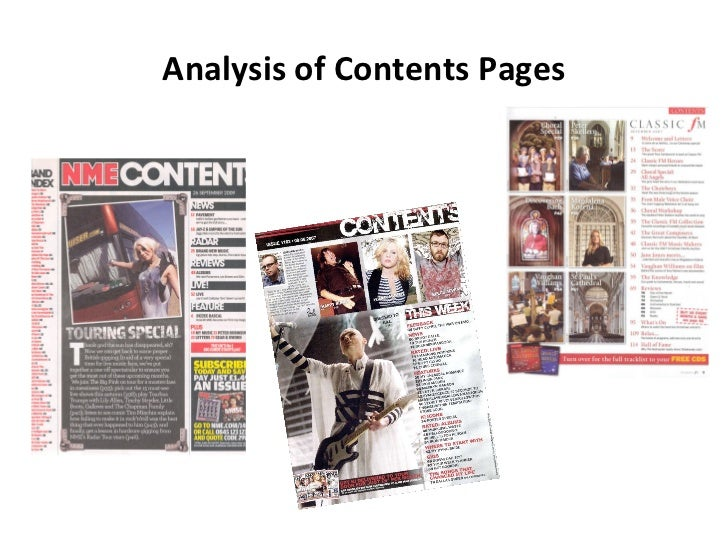 Analysis of Contents Pages