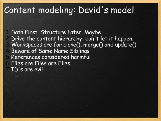 Content modeling: David\u0026#39;s model 1.