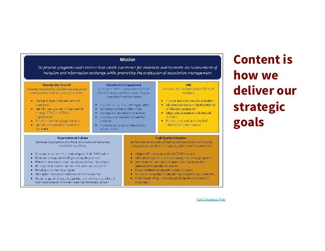 Content is how we deliver our strategic goals ISAE Strategic Plan