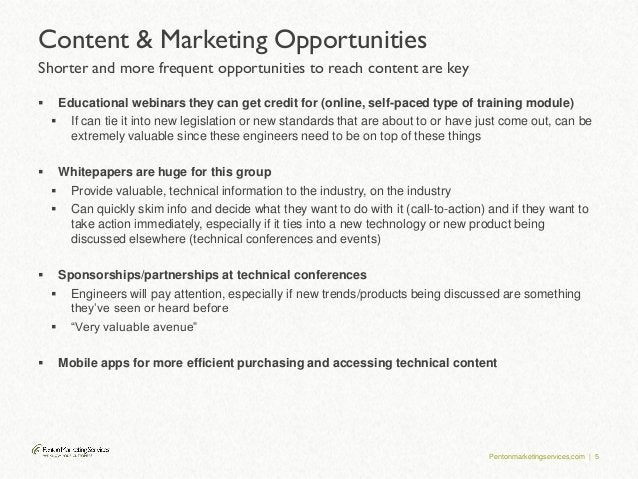 Pentonmarketingservices.com | 5 Content & Marketing Opportunities Shorter and more frequent opportunities to reach content...