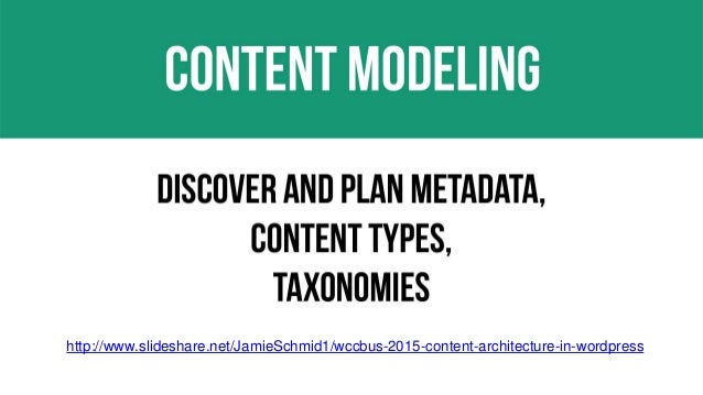 27 http://www.slideshare.net/JamieSchmid1/wccbus-2015-content-architecture-in-wordpress