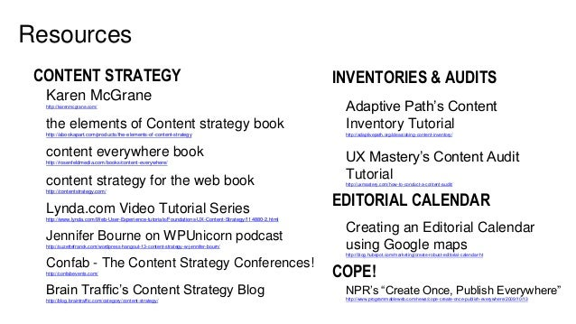 31 Resources CONTENT STRATEGY Karen McGrane http://karenmcgrane.com/ the elements of Content strategy book http://abookapa...