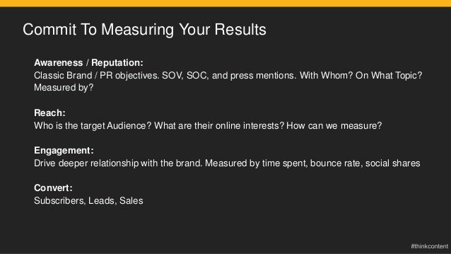 Commit To Measuring Your Results Awareness / Reputation: Classic Brand / PR objectives. SOV, SOC, and press mentions. With...