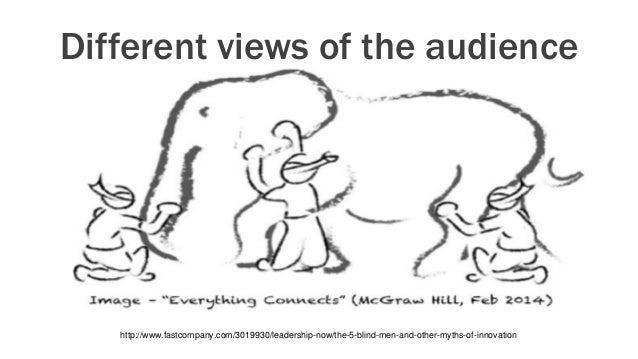 Different views of the audience http://www.fastcompany.com/3019930/leadership-now/the-5-blind-men-and-other-myths-of-innov...