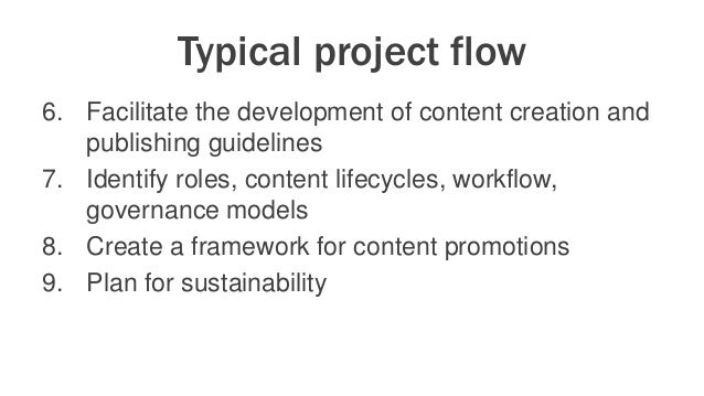 Typical project flow 6. Facilitate the development of content creation and publishing guidelines 7. Identify roles, conten...