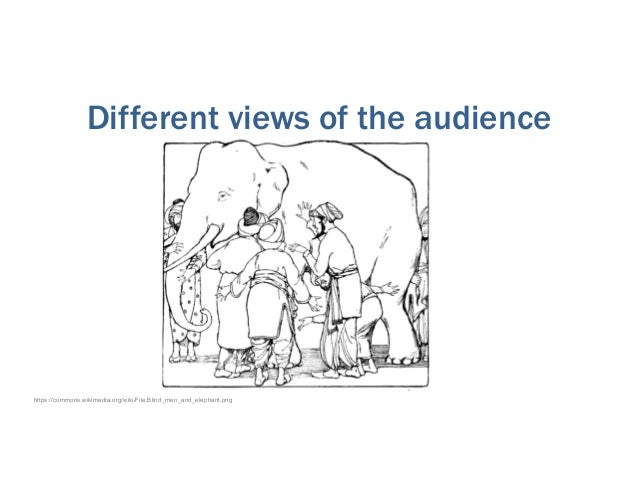 Different views of the audience https://commons.wikimedia.org/wiki/File:Blind_men_and_elephant.png