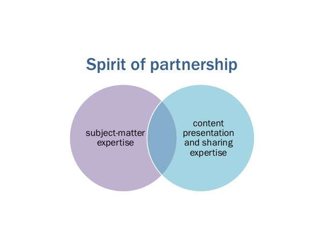 subject-matter expertise content presentation and sharing expertise Spirit of partnership