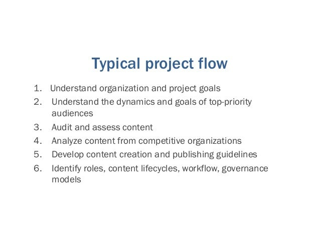 Typical project flow 7. Facilitate the creation of a single, organization-wide taxonomy 8. Plan for content transformation...