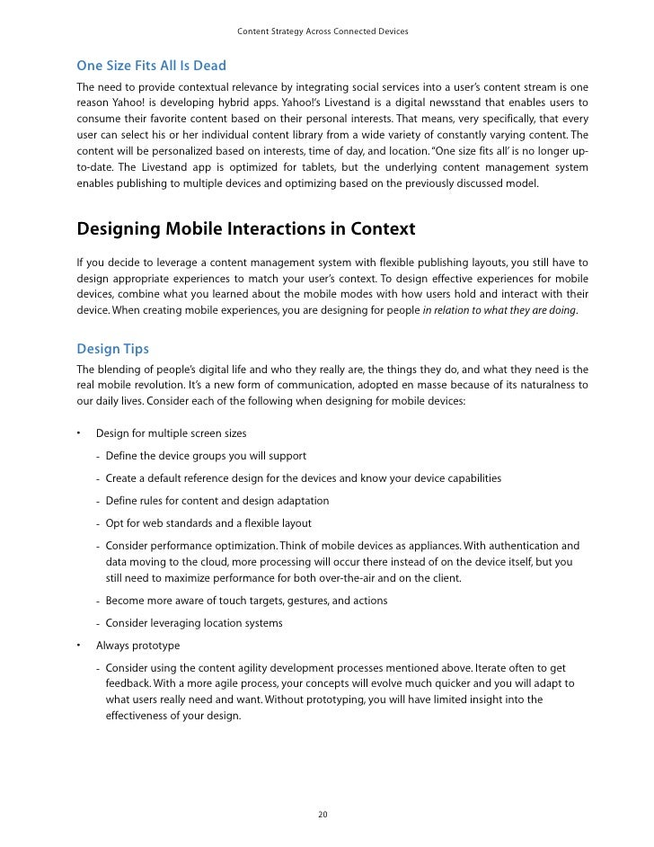 Content Strategy Across Connected DevicesOne Size Fits All Is DeadThe need to provide contextual relevance by integrating ...
