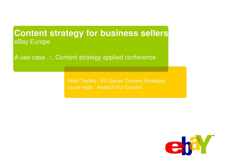 Content Strategy applied: An eBay use case