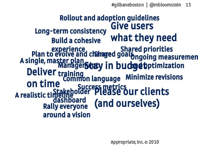 #gilbaneboston | @mbloomstein 13 Appropriate, Inc. © 2010 Deliver on time Stay in budget Give users what they need Please ...