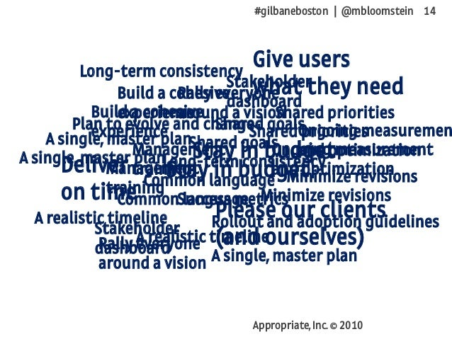 #gilbaneboston | @mbloomstein 14 Appropriate, Inc. © 2010 Deliver on time Stay in budget Give users what they need Please ...