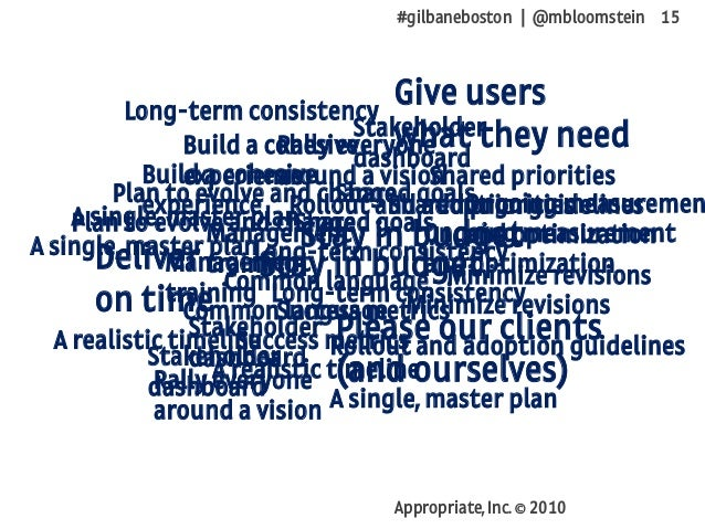 #gilbaneboston | @mbloomstein 15 Appropriate, Inc. © 2010 Deliver on time Stay in budget Give users what they need Please ...
