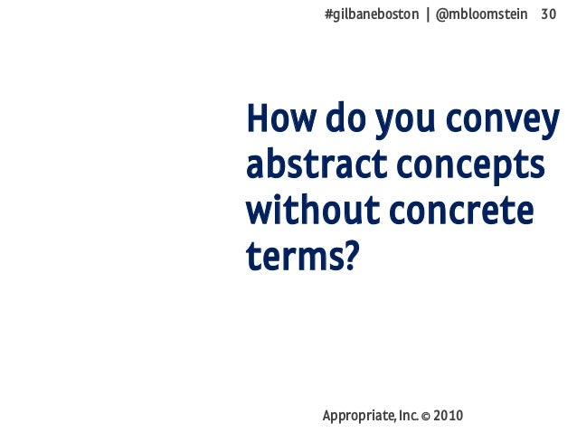 #gilbaneboston | @mbloomstein 30 Appropriate, Inc. © 2010 How do you convey abstract concepts without concrete terms?