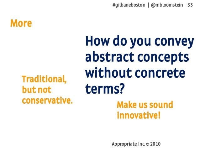 #gilbaneboston | @mbloomstein 33 Appropriate, Inc. © 2010 More How do you convey abstract concepts without concrete terms?...