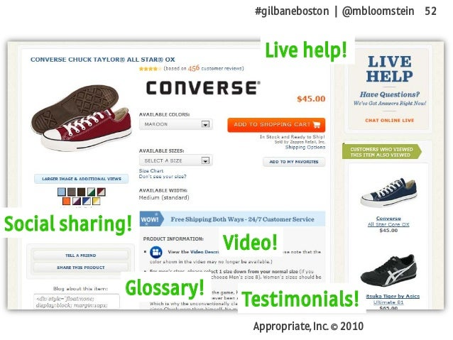 #gilbaneboston | @mbloomstein 52 Appropriate, Inc. © 2010 Glossary! Social sharing! Live help! Video! Testimonials!