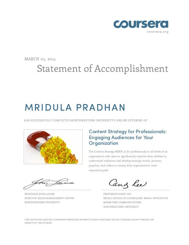 Content strategy certificate coursera march 05 2014 statement of accomplishment mridula pradhan has successfully completed northwestern yadclub Images