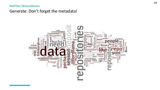 19 Mad*Pow   @marsinthestars Generate: Don't forget the metadata!