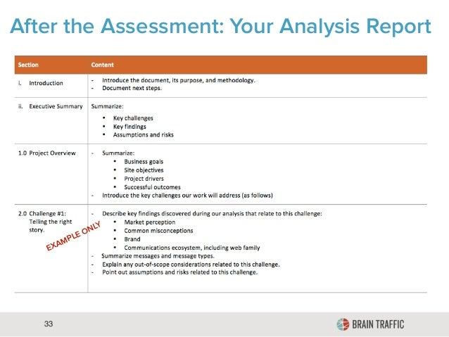 33 After the Assessment: Your Analysis Report EXAMPLE ONLY