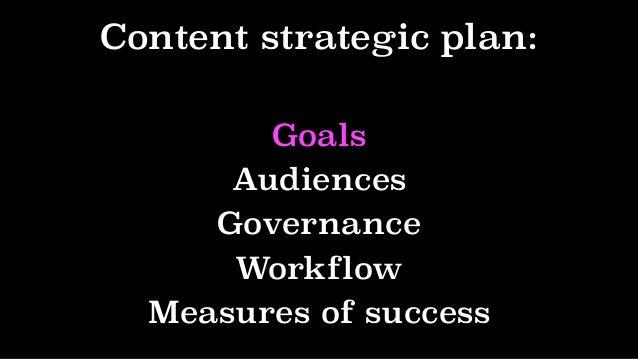 Content strategic plan: Goals Audiences Governance Workflow Measures of success