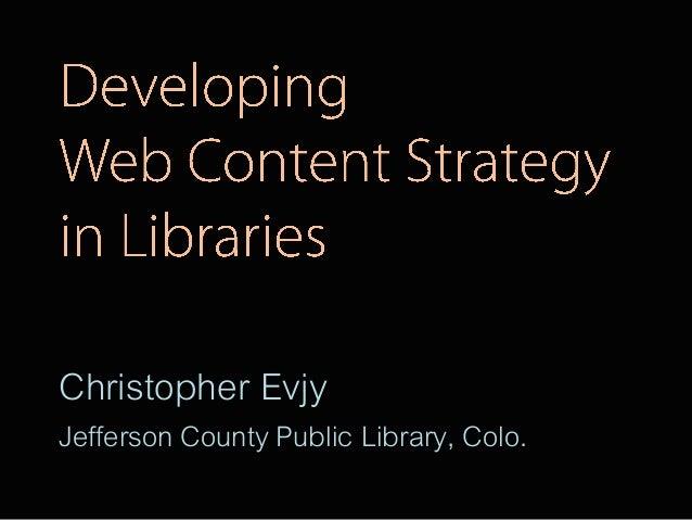 Christopher EvjyJefferson County Public Library, Colo.