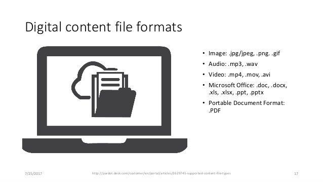 Digital content file formats • Image: .jpg/jpeg, .png. .gif • Audio: .mp3, .wav • Video: .mp4, .mov, .avi • Microsoft Offi...
