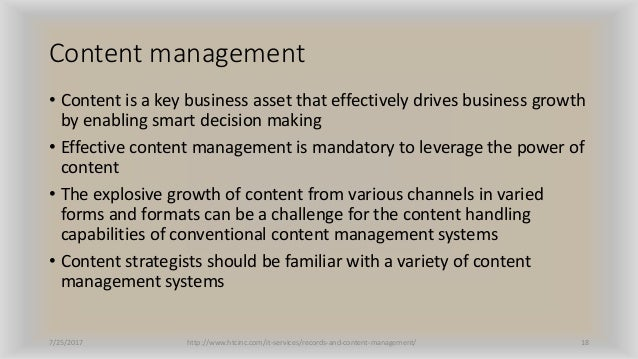 Content management • Content is a key business asset that effectively drives business growth by enabling smart decision ma...