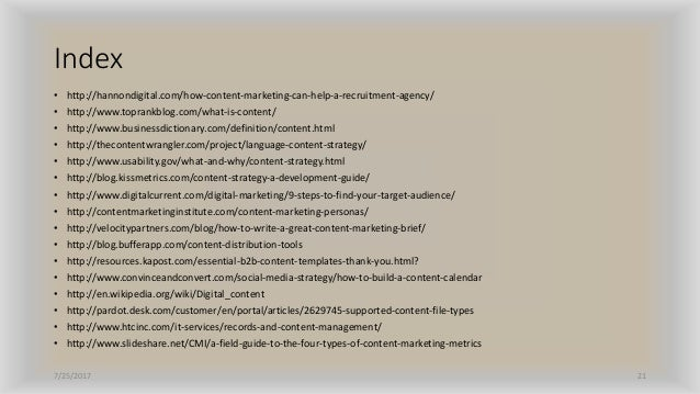 Index • http://hannondigital.com/how-content-marketing-can-help-a-recruitment-agency/ • http://www.toprankblog.com/what-is...